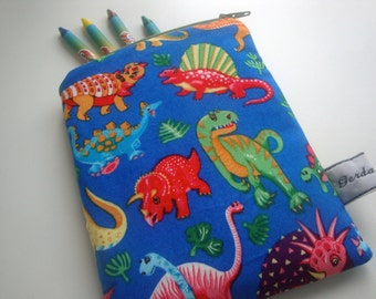 Kids cotton Crayons Case - handmade - gift - small crayons dinosaur  case -  children's crayons case - wipe clean lining