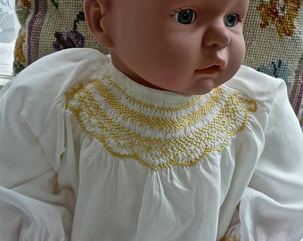 Baby Clothes - White Cotton - Nightgown- Sleep Ware - Night Dress - Smocked Infant Nightdress - Long Baby Gown - Cotton Ribbon Back Closure