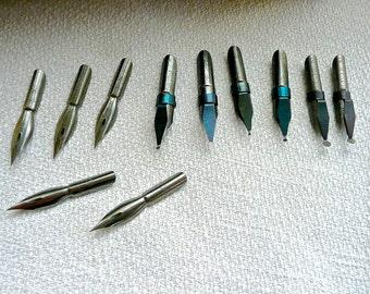 Vintage Calligraphy Nibs - Quantity of Pen Tips - Quil Pen Nibs - Calligraphy Art - Assorted Ink Dip Nibs - Pointed Nibs - Berlin Kui Makers