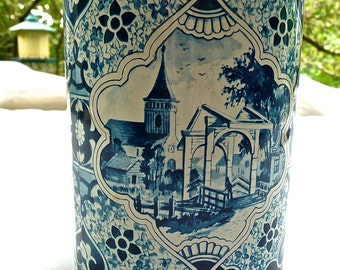 Vintage Tin Box - Delft Blue Tin - Blue and White Biscuit Box - Village and Pastoral Scenes - Tall Round Storage Box - Decorative Delft Box