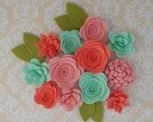 Handmade Wool Felt Flowers, French Peach, Papaya, Celadon.