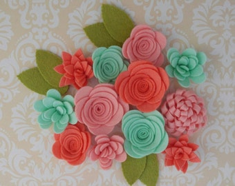 Handmade Wool Felt Flowers, French Peach, Papaya, Celadon.