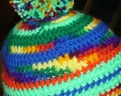 Simple stripe variagated Beanie hat  Crochet hat with pom pom Multi colored contrasts