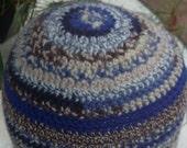 Beanie Hat crochet shades of blue brown beige Multi patterned stripes Simple wear