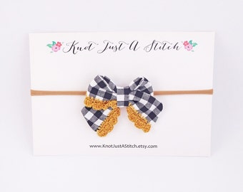 Black and White Plaid Ladylike Bow with Gold Crochet Trim