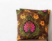 chocolate throw pillows, linen pillow case, 20x20, SET OF TWO, boho decor, floral pillow cover, Jacobean, bohemian room decor, natural flax
