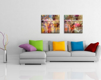 2 square abstract art prints on canvas - Home decor - wedding gift idea