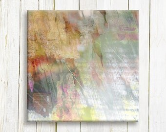Square Abstract canvas art - Colorful abstract art print on canvas - Wedding gift idea