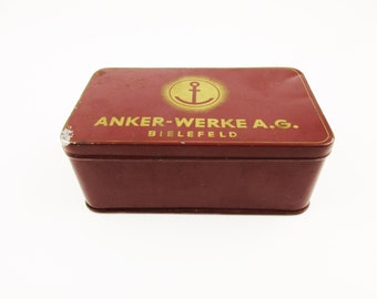 An Oxblood Red Painted Metal Box - An 'Anker-werke A.G.' Bielefeld, Germany Box - Box With Lid - Sewing Machines, Adding Machines, Bicycles