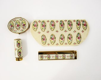 Hollywood Regency Collection For Women - 1940s - Melted Beaded Detailing - Pill Case, Lipstick Case, Comb, Glasses Case