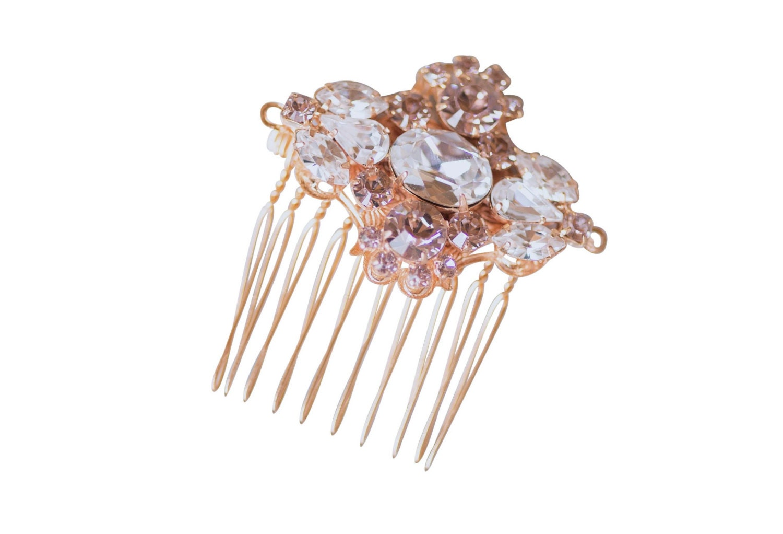 Bridal Headpiece Wedding Hair Comb Rose Gold Vintage Art Deco