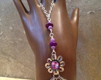 purple flower gypsy bracelet/flower bracelet/sleep bracelet – with purple mother of pearl and Riverstone