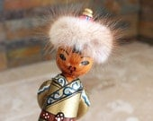 Mongolian peg doll - wooden peg doll - peg doll with fur hat - peg doll made in Mongolia - kaftan and sash - rabbit fur hat