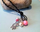 Springtime Kitty and Pearl necklace (matching earrings available on this site)