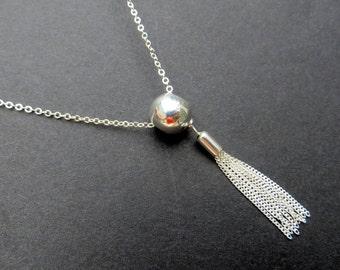 Sterling Silver Tassel Necklace. Silver Tassel Necklace. Layering Necklace. .925 Sterling Silver.