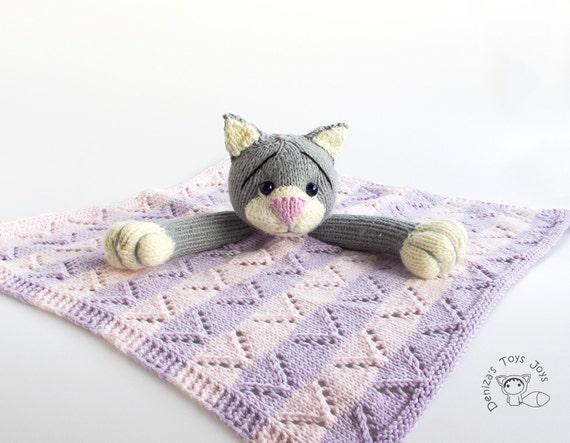 Knitting Pattern Cat Blanket : Items similar to Gray Cat Toy Baby Blanket - pdf knitting pattern on Etsy