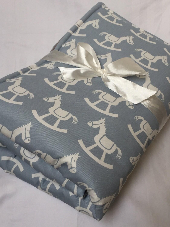 baby play mat padded floor blanket blue rocking horses tummy