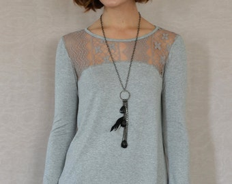 SALE Nina Hi-lo Top in Heather Grey