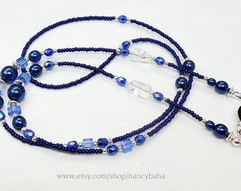 Beaded Eyeglass Chain - Eyeglass Chains - Eyeglass Holders - Reader Eyeglass Chain - Blue Beaded Eyeglass Chain - EC02303