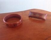 Vintage Koa Wood Honu Turtle Hair Clip and Bangle Bracelet Set