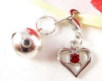 Valentine Cat Collar Charm ~ Ruby Red Pet Collar Charm with Jingle Bell ~ Cat Lover Gift ~ Gift for Cat Lovers ~ Gifts under 5 ~ Zipper Pull