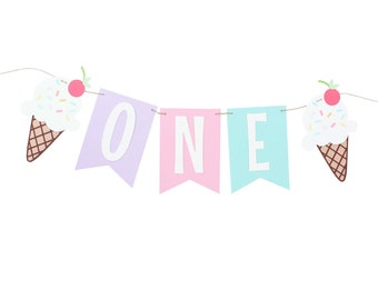 Ice Cream Party Highchair Banner - Ice Cream Party Banner - Ice Cream Party First Birthday Banner - Ice Cream Cone Banner - Ice Cream Sundae