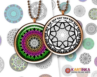 COLORFUL MANDALAS Black White Mandala 1 inch printable digital images for round pendants bezel trays glass cabochon mountings cameo settings