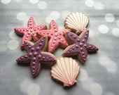 Seashell and starfish cookies