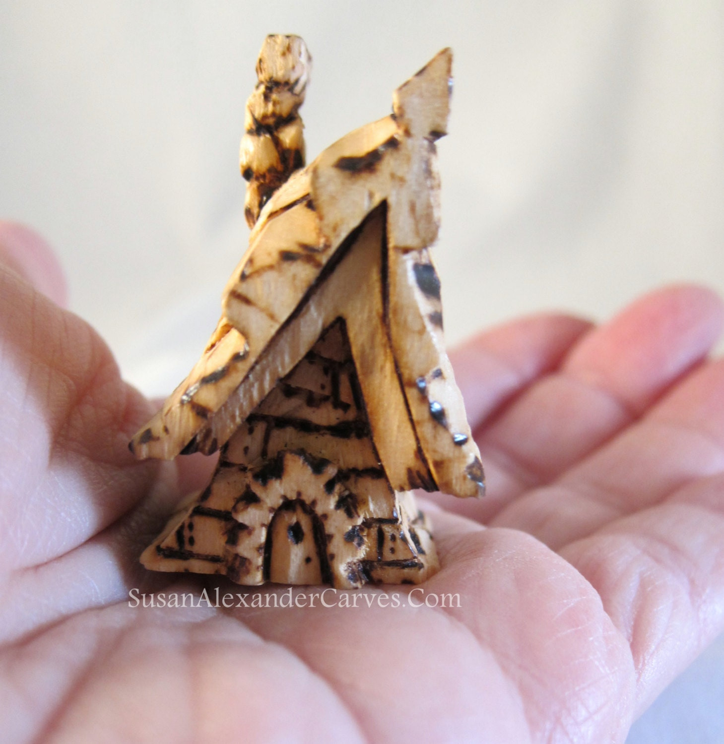 Fairy house hand carved miniature fantasy folk art wood
