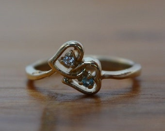 DEADsy LAST GASP SALE Unique Vintage Engagement Ring // Double Heart Diamond & Topaz Engagement Ring // 14K Gold Diamond Ring with Topaz //