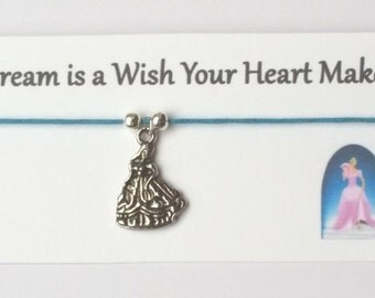 DISNEY themed friendship Bracelet on waxed cotton cord OR Silver Plated Key Ring OR Silver Plated Necklace