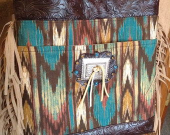 New southwestern tooled vinyl fringe messanger, cross body bag