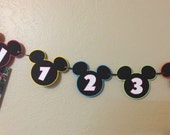DIY-First year Mickey Mouse banner, Clubhouse Banner, 12 month banner