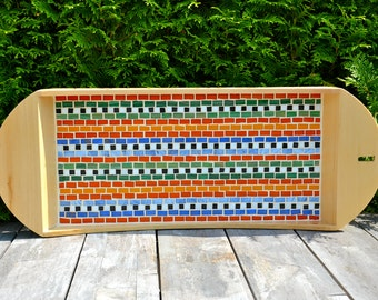 Serving tray colored glass mosaic, birch wood, woven textile Maya design