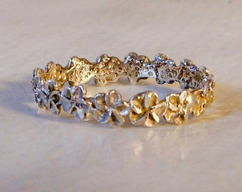 Sterling Carved Flower Band   Size 4.5        Stack Band