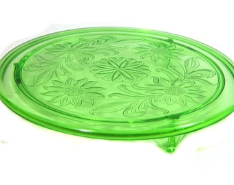 Jeanette Glass Green Depression Glass Cake Plate Sunflowers