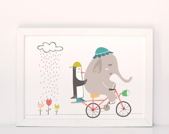 Elephant print, penguin print, bicycle print, elephant wall art, nursery wall art, blue elephant , elephant nursery art, cute elephant print