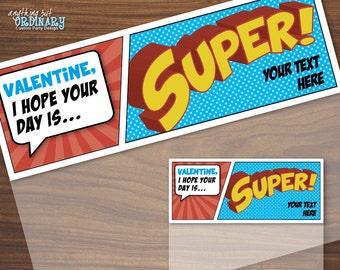 Superhero Valentine Bag Toppers, Printable Super Hero Valentines, Editable Treat Bag Labels, INSTANT DOWNLOAD digital file