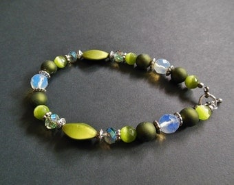 OOAK Olive Green White & Silver Accent Glass Bead Plus Size Bracelet Ankle Bracelet