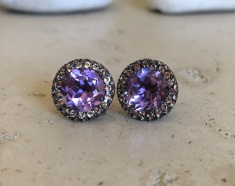 Purple Amethyst Stud Earring- Halo Amethyst Earring- Purple Statement Earring- February Birthstone Earring- Artisan Round Earring
