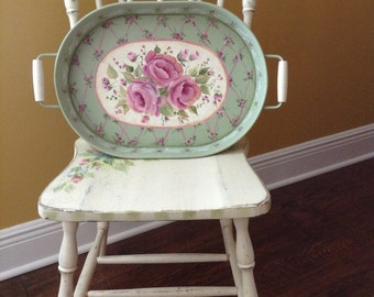 """Vintage 20"""" X 12""""  Hand Painted metal tray with shabby chic ribbons and roses design, pink and green for bed bath kitchen dining wall decor"""