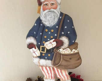 Hand made and painted collectable Americana Historical Civil War Mail Carrier Santa Clause signed and dated 2016