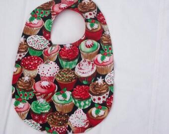 Christmas Cupcake Bib. Festive season bib.  Holiday bib. Larger size for older infant/toddler.  Bright frosted Cupcake bib.  Ready to Ship