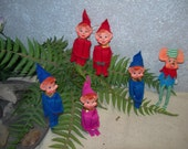 Felt Dwarf Pixie Elf hold knees figurines Ornaments - made in Japan Plus Mouse 6 pcs