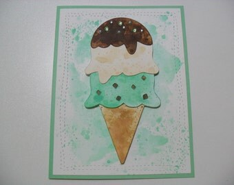 Handmade Birthday Card - Ice Cream Cone Card - Watercolor Card - Have a Sweet Birthday