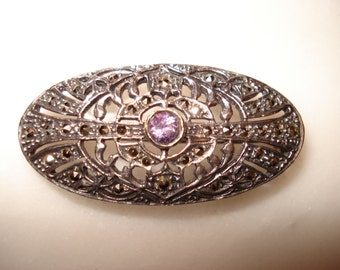 Sterling, Marcasite and Amethyst Filigree Art Deco Style Pin
