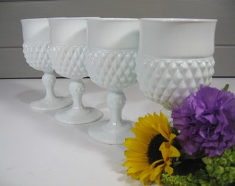 Large Milk Glass Goblets, Vintage Goblets, Vintage Wedding, Cottage Chic, Shabby Chic, Farmhouse, Country Decor