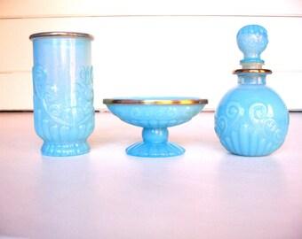 Avon Bath Accessories, Avon Vanity Set, Avon Blue Soap Dish, Avon Perfume Bottle