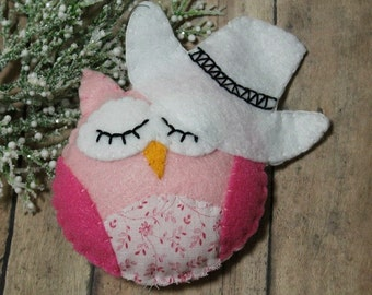 Owl Ornament-Cowgirl Owl-Western Owl-Owl with 10 gallon hat-Christmas ornament-Country decor-Handmade felt Owl Ornament