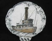 Tugboat Sculptured Wall Plaque Concave Dimensional Vintage Hand Made Signed
